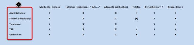 Her er en kort oversigt over hvilke medarbejdertyper der automatisk får adgang til hvad via SIS: