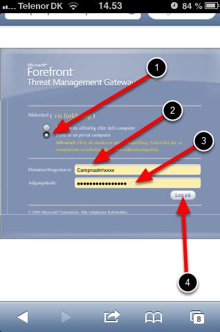6. Skriv nu brugernavn og password
