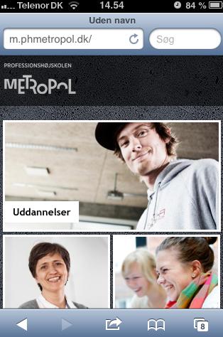7. Metropols hjemmeside toner nu frem og du har nu adgang til netværket