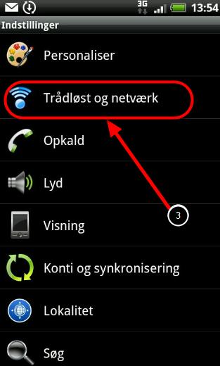"""3. Vælg: """"Trådløst og netværk"""""""