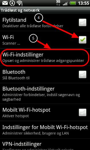 """4. Sæt flueben i """"WI-Fi"""" og 5. Klik på: """"Wi-Fi indstillinger"""""""
