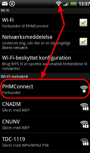 Du er nu forbundet til PHMConnect hvilket fremgår to steder