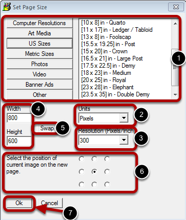 Understanding the Set Page Size Dialog