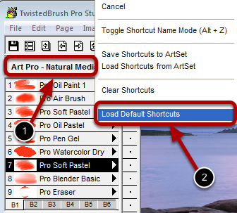Resetting the Brush Shortcuts