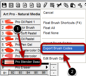 Launching the Brush Export Dialog