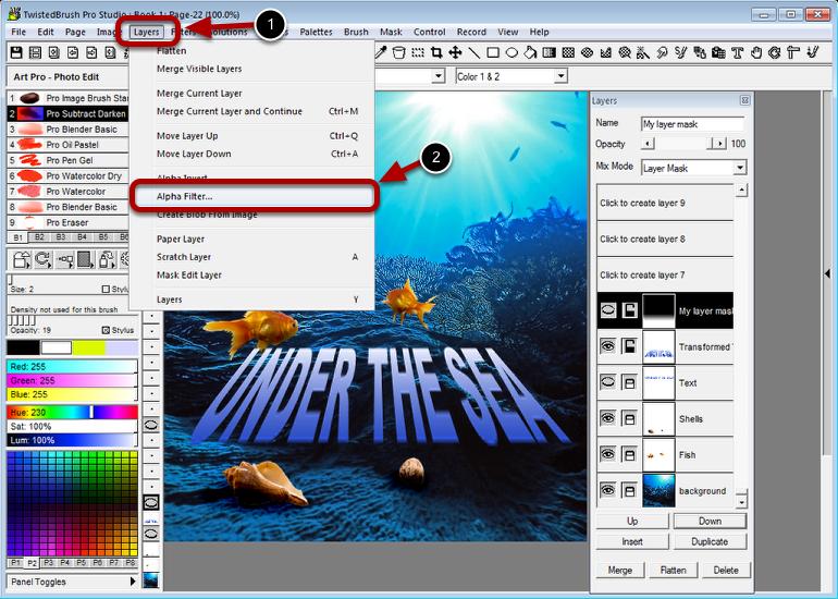 Select the Alpha Filter menu