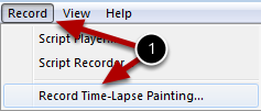 Step 1 : Launch the Record Time-Lapse Painting Panel