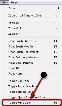Selecting Full Screen Mode
