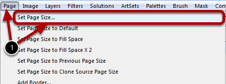 Opening the Set Page Size Dialog