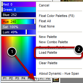 Step 1 : Select the Load Palette Option