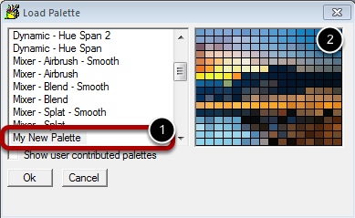 Step 4 : Palette is Saved for Later Use