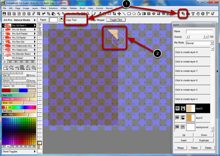 Copy the Corner of the Paper with the Copy Tool