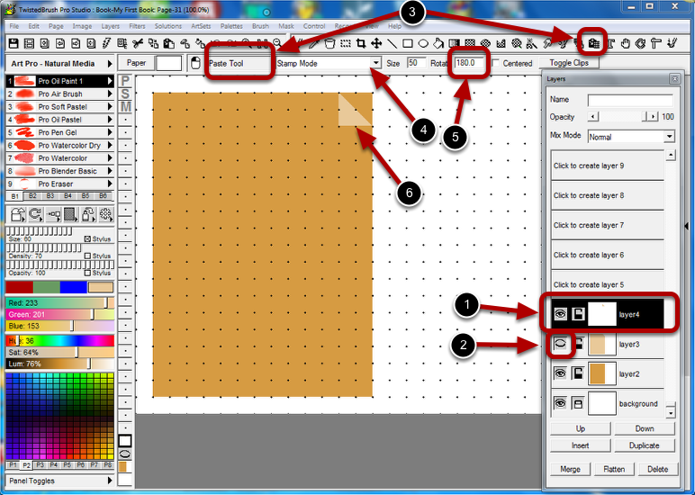 Using the Paste Tool to Stamp down the Corner on a New Layer