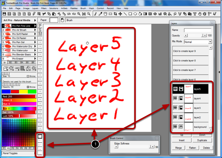 Starting with in image with multiple layers
