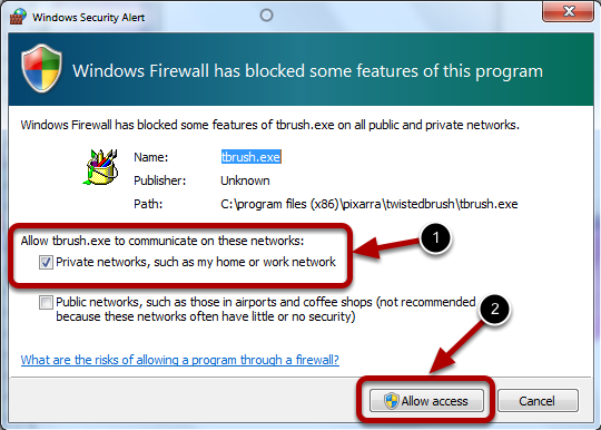 Allow Access to Network Services