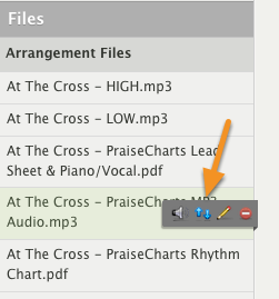 Hover over the mp3 you want to transpose and click the blue up/down icon.