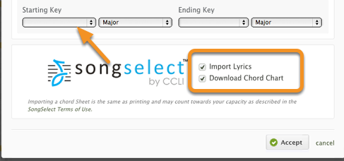 Select the key you would like, check the boxes to import lyrics and chords, then click 'Accept'