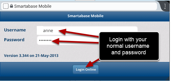 Login with your normal username and password.