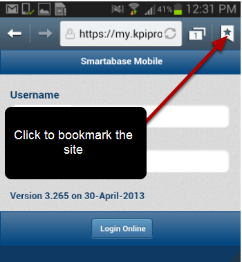 Once the login screen appears click the book mark icon to book mark it for future use