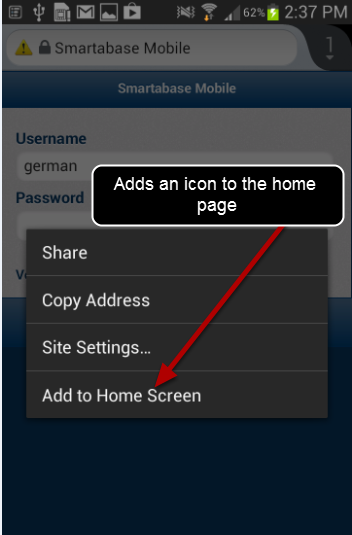 You can also create a Home Screen Link. On the Login Page hold your finger over the site address and a pop up menu will appear.