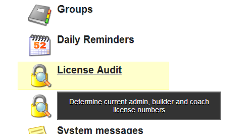 There is a New License Audit Module on the Administration Site. Only Administratotors can access it; Team Administrators cannot.