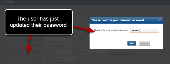You can now login online and update your password. This will be applied to the mobile version of the software.