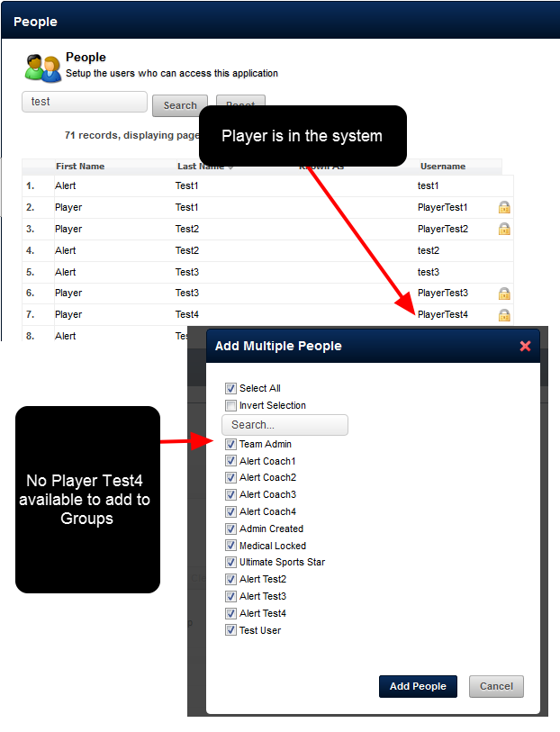 N.B. If the athlete is already on the system but is NOT in your group/s, DON'T add in a new user. E-mail your administrator and they can add this user to your group