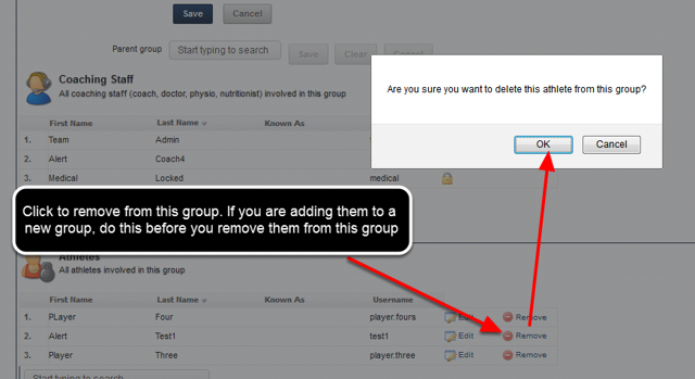 "You can remove an athlete or a Coach from a Group by clicking ""Remove"""