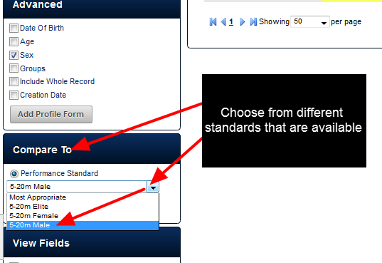 If you have additional performance standards available for that Event Form, you can choose to compare your data against these