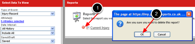 To remove the report, simply delete it from the Reports Page. Click the delete icon beside the report name and then click OK