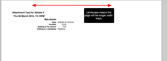 """The """"Printed"""" PDF will be generated using a Landscape layout."""