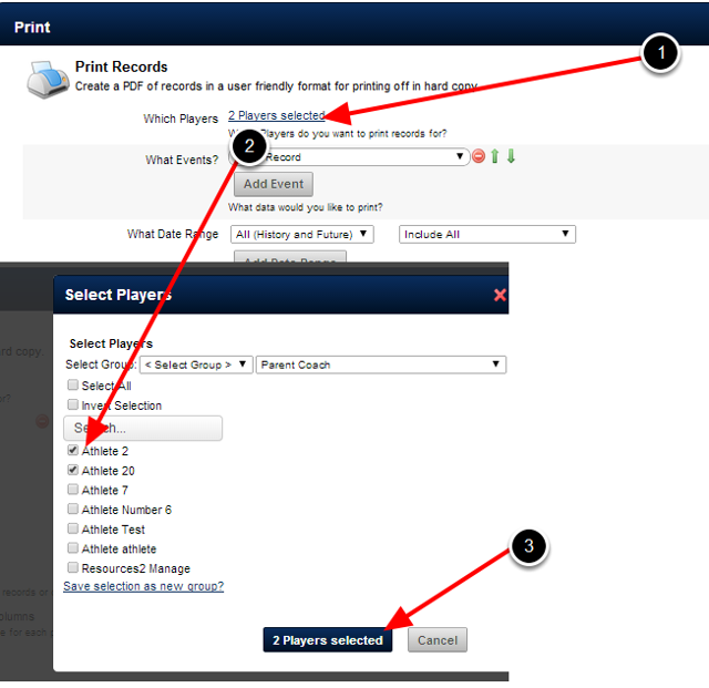 Select the Athlete/Athletes that you want to generate the PDF for; a separate PDF will be generated for each athlete