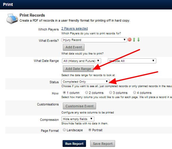Select to see data across a specific data range. You can also choose to see planned or completed data