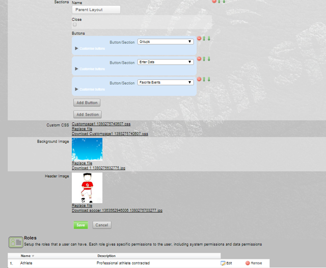 Even though this Page Layout has been set up with Favourites Events, any Event Forms set as Favourites will NOT appear because the Athlete History system permission has not been given to a user who will use this page layout.