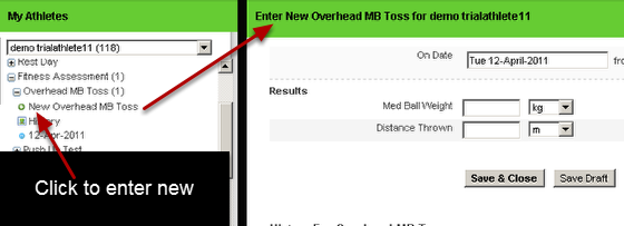 """You can enter in new data by clicking the the """"New___________"""" underneath the Event Form name"""