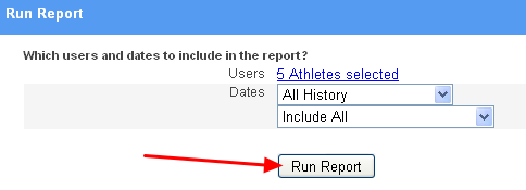 """Update the athletes or dates if you wish and generate the report again by clicking """"Run Report""""."""