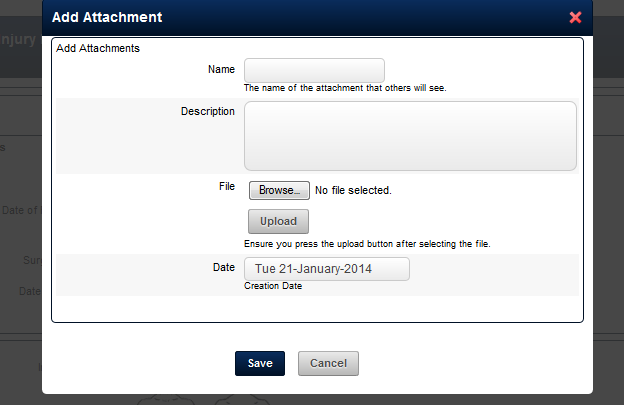 Currently when you attach a file to an Event Form that is just set up with Attachments, the following fields appear.