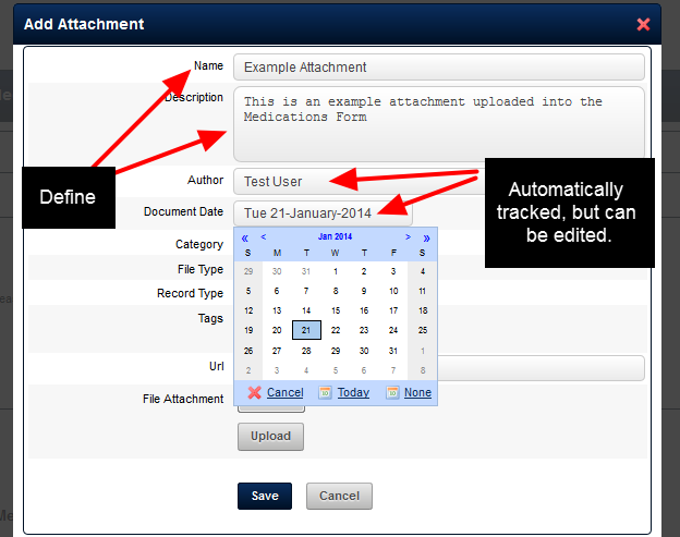 """If your Add Attachment pop up box looks like this, then Name the attachment and add in a description. The """"Author"""" is automatically recorded as you, and the Document Date default to today's date"""
