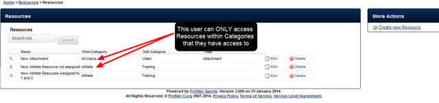 For example, on the system, this user only has access to manage the Resources for Categories that have been assigned