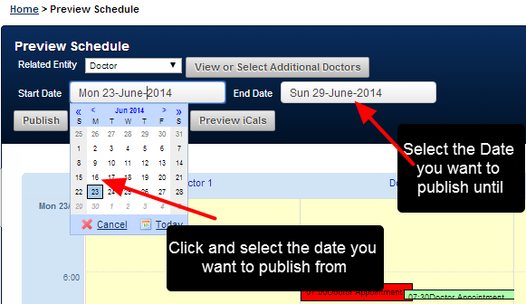 Select the Start Date and the Finish Date that you want to view the Scheduled Data for. This selects the Period that you want to Publish the Data for