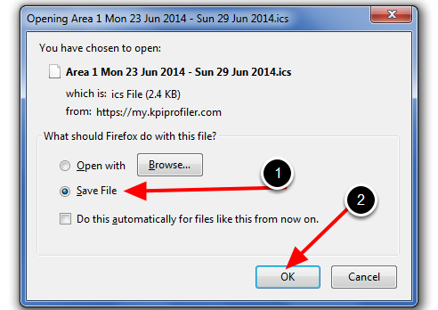 Save the File (to your downloads or in an appropriate folder)