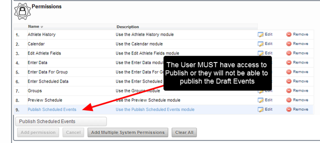 """N.B. Only User with access to the """"Publish"""" System Permission will be able to Publish Multiple Events in the Preview Schedule Module"""