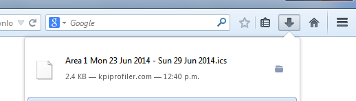 The link is downloaded and can again be previewed in a calendar by importing the file into the calendar (as outlined above)