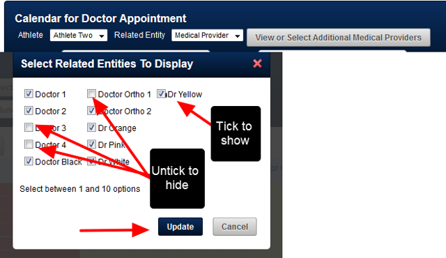 """N.B. Only the first 10 providers or options appear. You may have access to more. Click on the """"View or Select More .."""" to see what other booking options are available"""