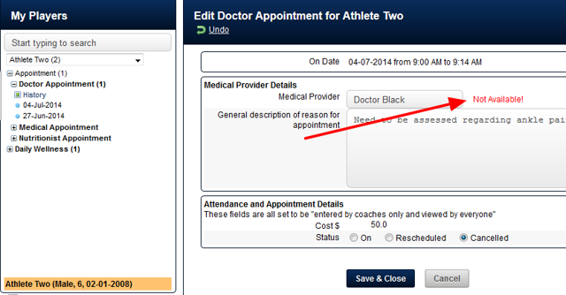 """N.B. If you open a """"On"""" Appointment (e.g. not cancelled or rescheduled) and it says """"Not Available!"""" beside the Provider, contact the person responsible for scheduling/appointments"""
