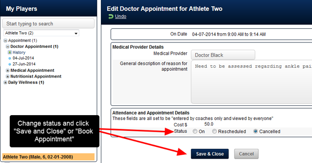 """Change the Appointment Status to """"Cancelled"""""""