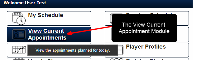 The View Current Appointments Module is a Day view of the Appointment events that have been entered for each related entity type used in Appointment Forms