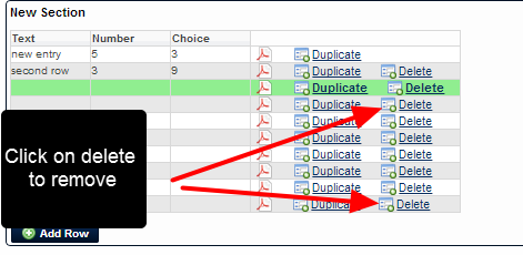 Any blank or existing row can be deleted.