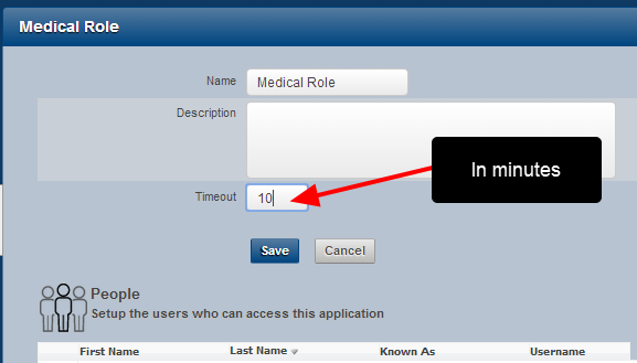Add in the Timeout expiry length in minutes