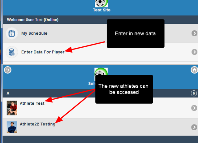 Data can be entered or accessed for these athletes